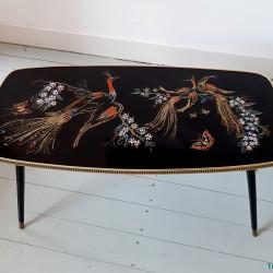 Fifties coffee table with peacocks
