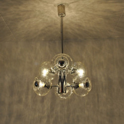 Chrome and glass hanging lamp