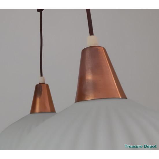 Fifties hanging lamp glass, wood
