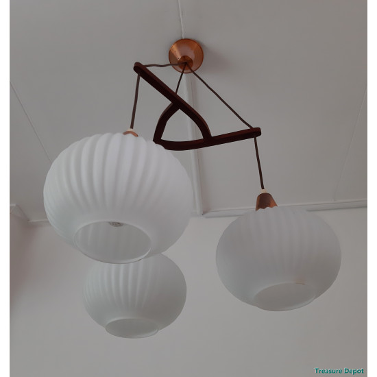 Fifties Hanging Lamp Glass Wood