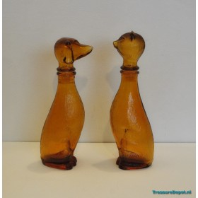 Empoli glass decanters / bottles cat & dog